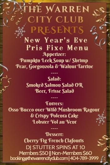 New Year's Eve Celebration Diner Menu