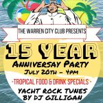 The Warren City Club celebrates 15 years of dining, drinking & dancing  … With a Yacht Rock Party