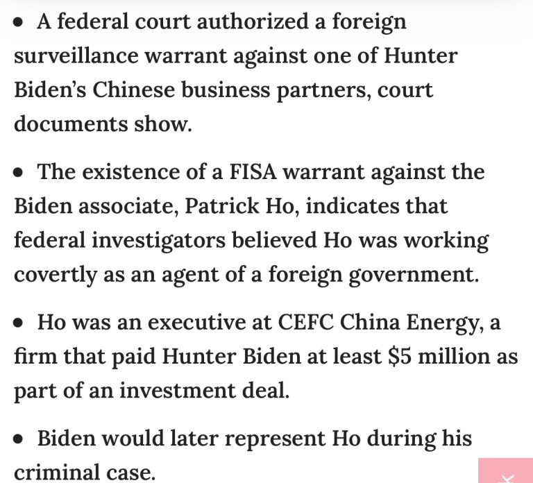 Documents Show Federal Prosecutors Have Obtained A F.I.S.A Court Warrant Looking Into A Business Associate Of Joe Biden's Son – Hunter Biden.
