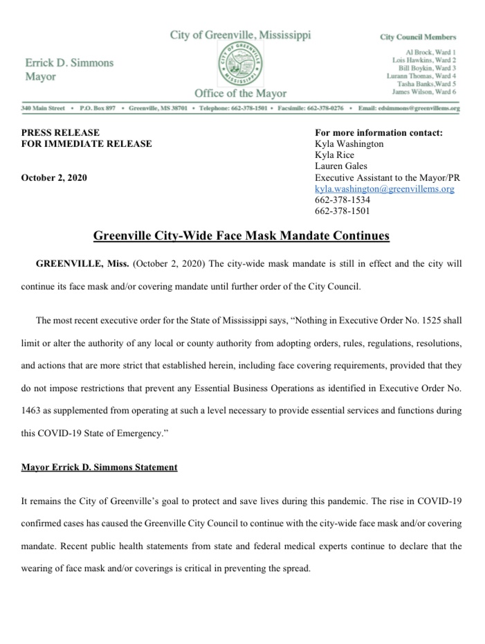 Greenville City Wide Mandate Continues