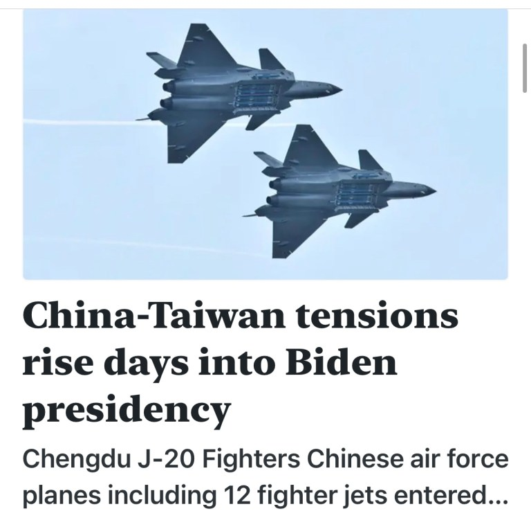 China-Taiwan tensions rise days into Biden presidency
