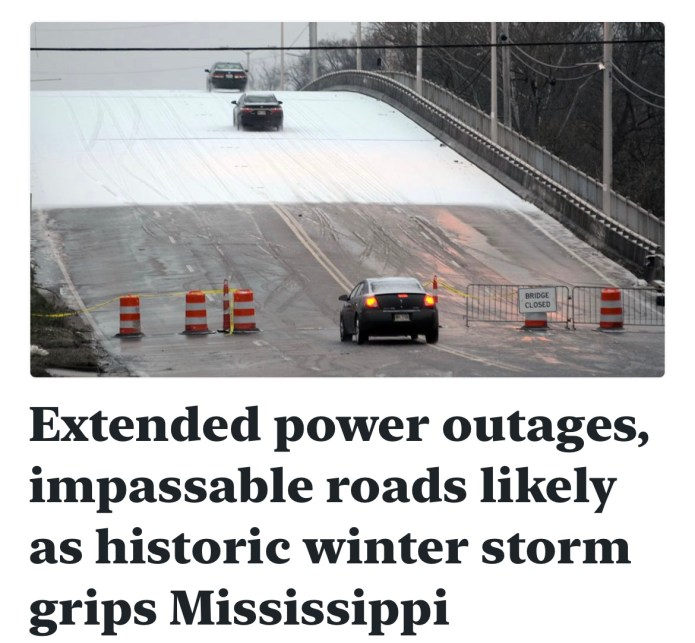 Extended power outages, impassable roads likely as historic winter storm grips Mississippi