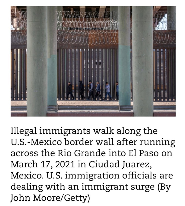"""Former President Donald Trump said in a statement Sunday that the Biden Administration must """"immediately complete the wall"""" to stop the influx of illegal immigrants crossing the U.S.-Mexico border."""