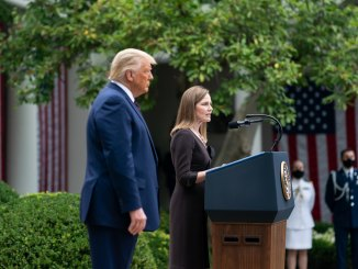 Image of Amy Coney Barrett's nomination at the White House by President Donald Trump