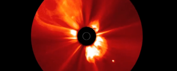 The Watchers Tweet Tweet The Sun produced a series of at least eight coronal mass ejections (CMEs) over a two-day period (November, 2-4, 2012). Some of them overlapped each other as the Sun burst some of them into space in a rapid-fire style. The series was taken by the STEREO Ahead spacecraft with its COR2 coronagraph, in which the Sun is blocked out by the black disk (Sun represented by the white circle) so that...