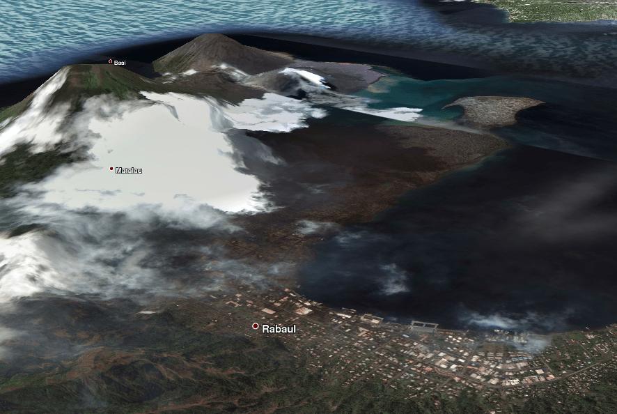 Rabaul (PNG) y Kaldera Rabaul del aire
