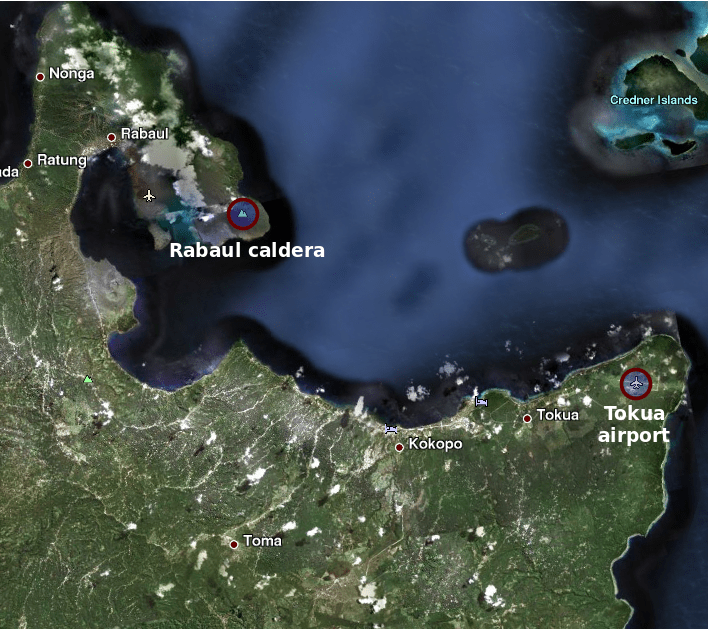 Rabaul (Tavurvur) - caldera de Rabaul - Tokua aeropuerto - Rabaul