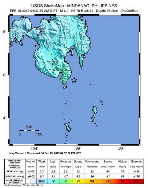 Terremoto mapa sacudida proporcionada por el USGS