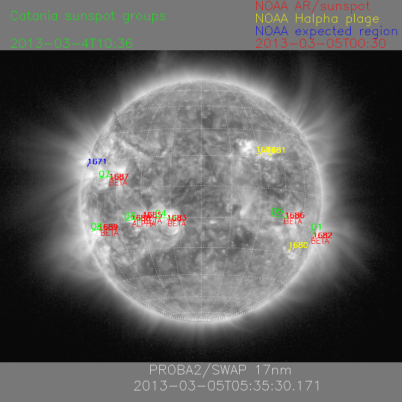 Sunspots magnetic configuration on March 5, 2013