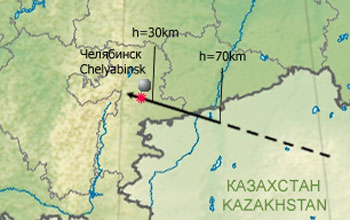 February 15, 2013 - Russia - Meteorite's final path