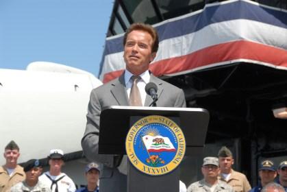 Governor Arnold Schwarzenegger delivering a speech.