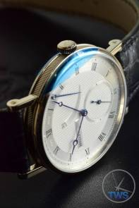 Breguet Classique 5277- Unboxing Review [5277bb-12-9v6] Watch on side in low light with crown up