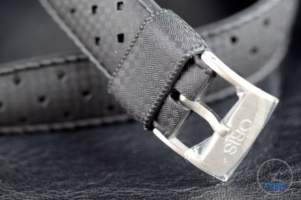 OrisDivers Sixty-Five 'Tropic strap' and tang buckle on black leather background [01 733 7707 4064-07 4 20 18] Hands on Review