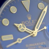 Yellow gold hands and indexes close up on the Rolex Submariner Date: Hands-On Review [116613LB]
