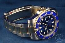 Watch facing right with bracelet and clasp in view - Rolex Submariner Date: Hands-On Review [116613LB]