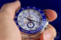 Watch held between thumb and fingers - Rolex Yachtmaster II- Hands-On Review [116680]