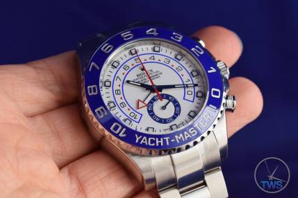 Watch resting on hand - Rolex Yachtmaster II- Hands-On Review [116680]