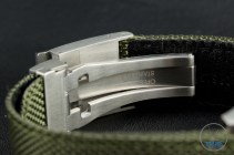 OrisBig Crown ProPilot Altimeter 47mm: Hands-On Review[01 733 7705 4134-07 5 23 14FC] - Folding stainless steel clasp attached to olive green textile strap