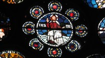 Centre Circle, Christ seated above the waters (William Morris or Edward Burne-Jones)