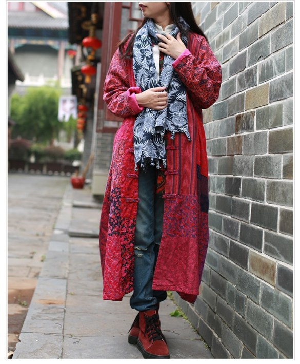 The Wavy Bunch Colorful Japanese Reds Patchwork Jacket Front