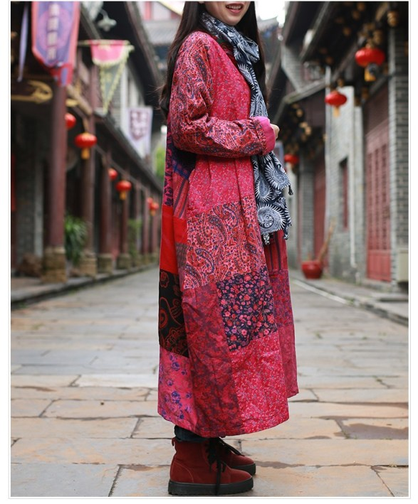 The Wavy Bunch Colorful Japanese Reds Patchwork Jacket Side