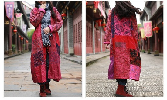 The Wavy Bunch Colorful Japanese Reds Patchwork Jacket Sides