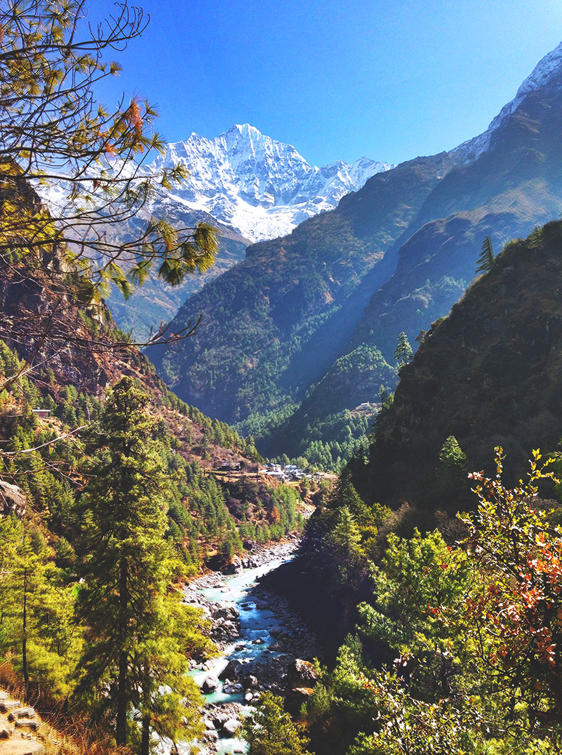 view mountain himalayas valley river colours landscape nepal EBC trek