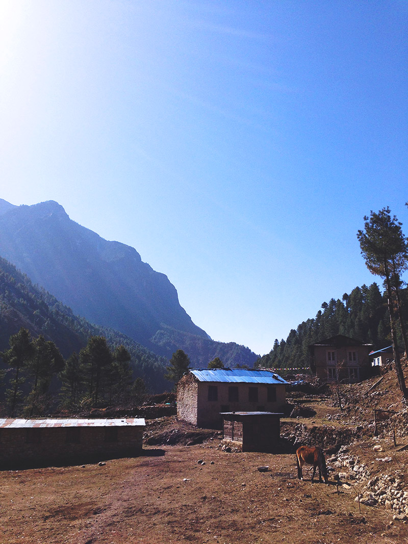 mountain house horse sky solitary nepal landscape himalayas