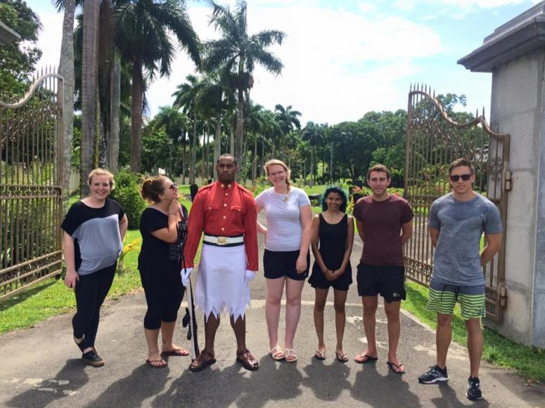 Taking a photo with the ceremonial guard outside the Presidential Gardens in Suva