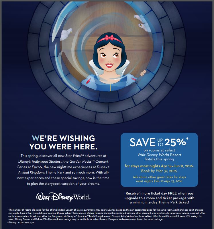 Early 2016 Deal at Walt Disney World