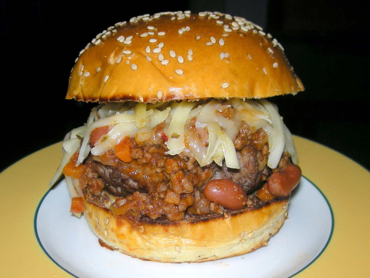 Burgers, beef burgers with chili and pepper jack cheese (San Antonio burger) 1