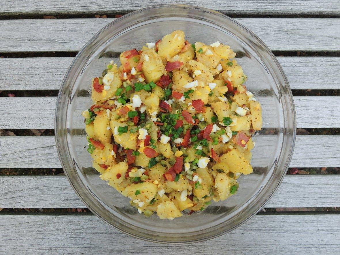 Salads, potato, warm German potato salad with bacon 1