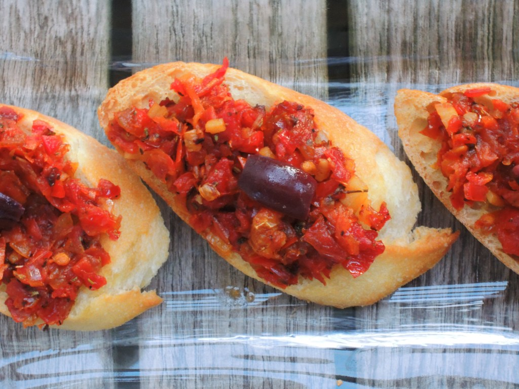 Appetizers, toasts, red pepper and sun dried tomato toasts 2