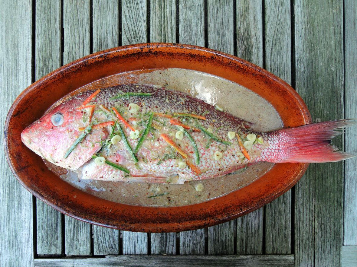 Fish, red snapper, Thai baked whole red snapper with green curry sauce 1