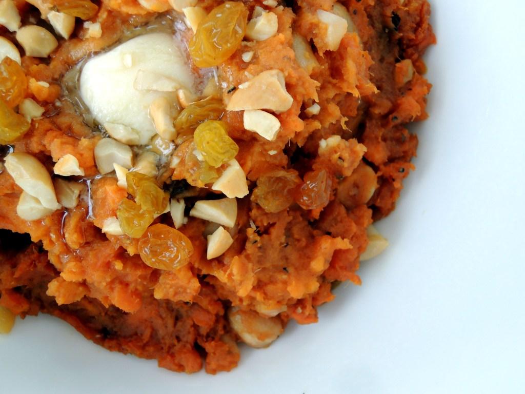Vegetables, sweet potatoes, mashed sweet potatoes with garam masala, cashews and golden raisins 2