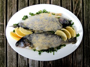 Fish, trout, sauteed trout with escarole 1