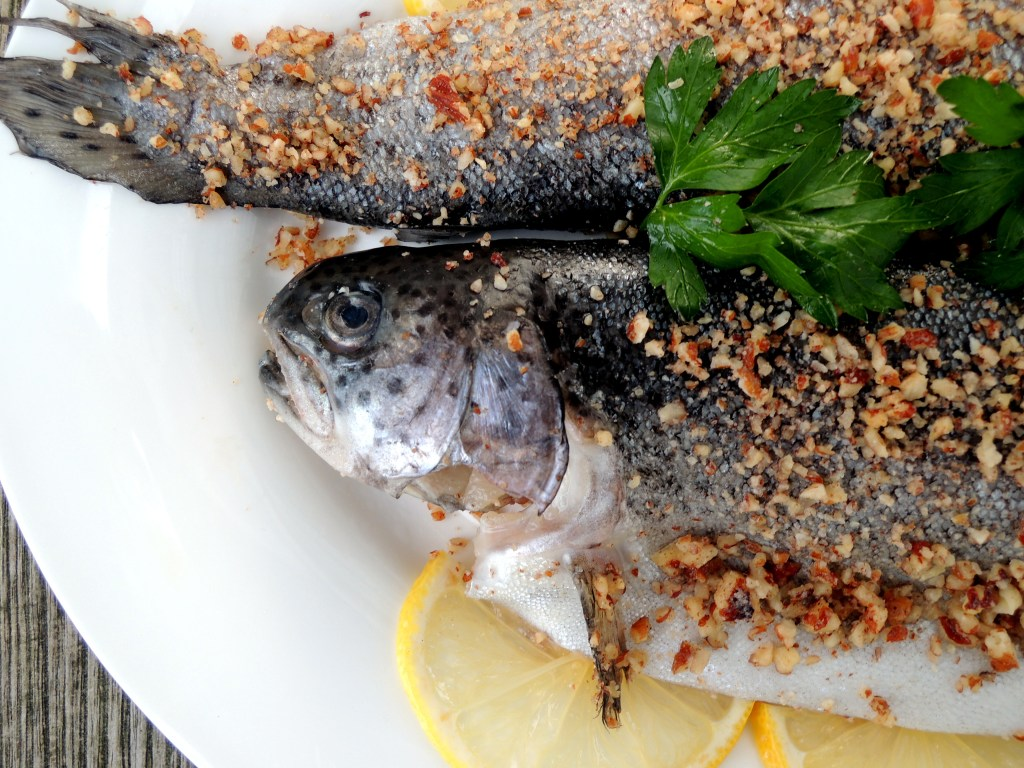 Fish, trout, sauteed with hazelnut crust 2
