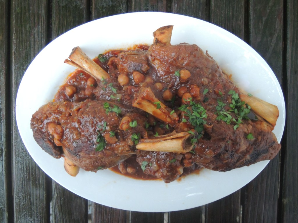 Lamb, lamb shanks braised in chicken stock and merguez spices 1