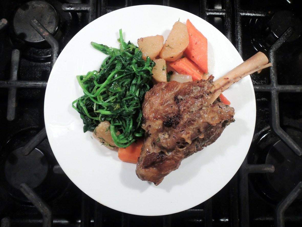 Lamb, lamb shanks braised in white wine with avgolemono, carrots and potatoes 2