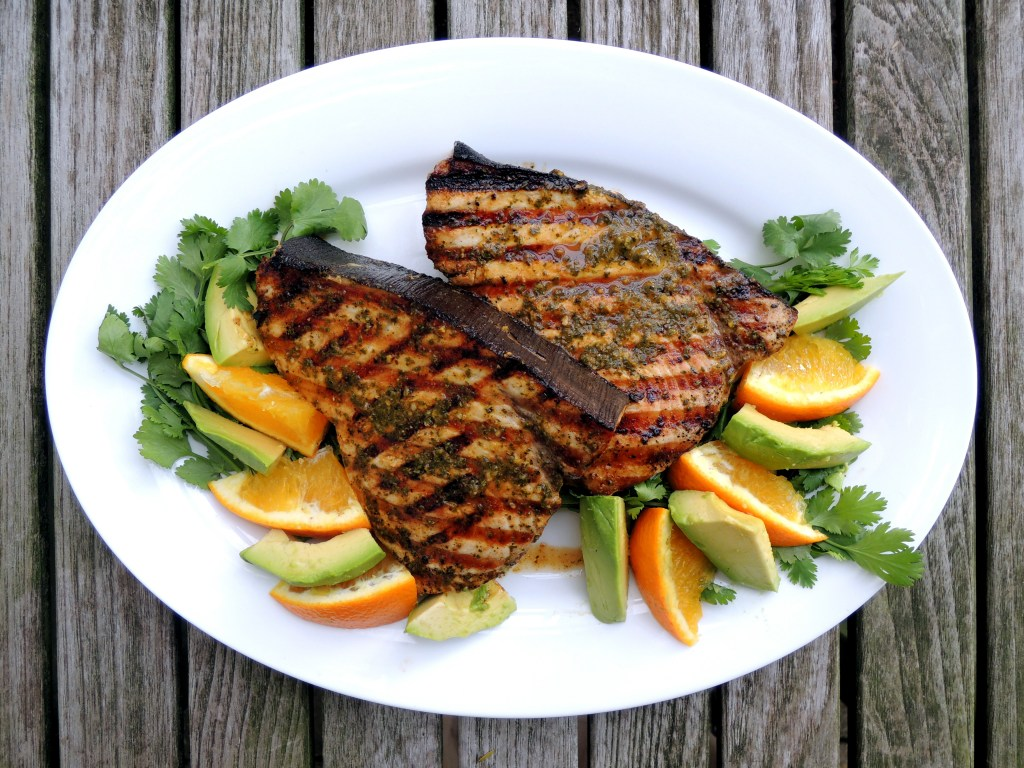 Fish, swordfish, pan-grilled swordfish steaks with orange herb paste (from the Yucatan) 1