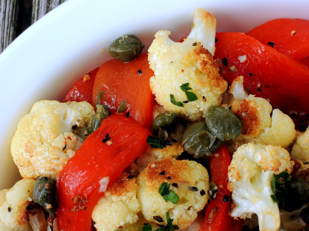 Vegetables, cauliflower, roasted cauliflower with red peppers and caper vinaigrette 2