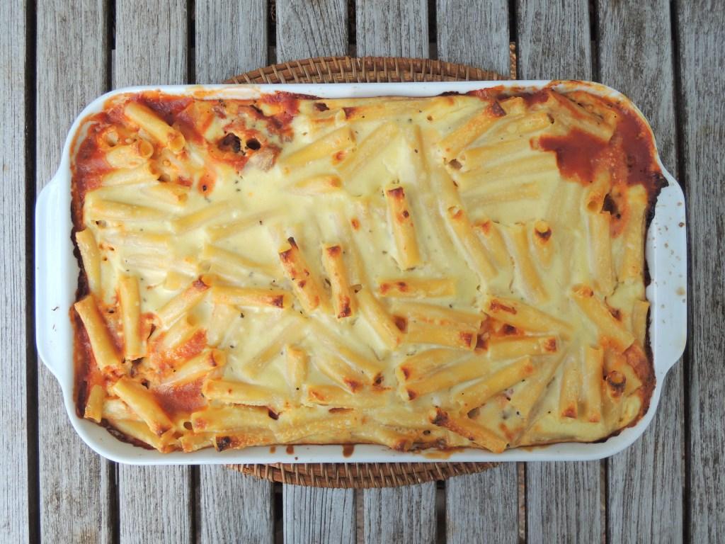 Pasta, macaroni, Greek pastitsio with eggplant and lamb 1