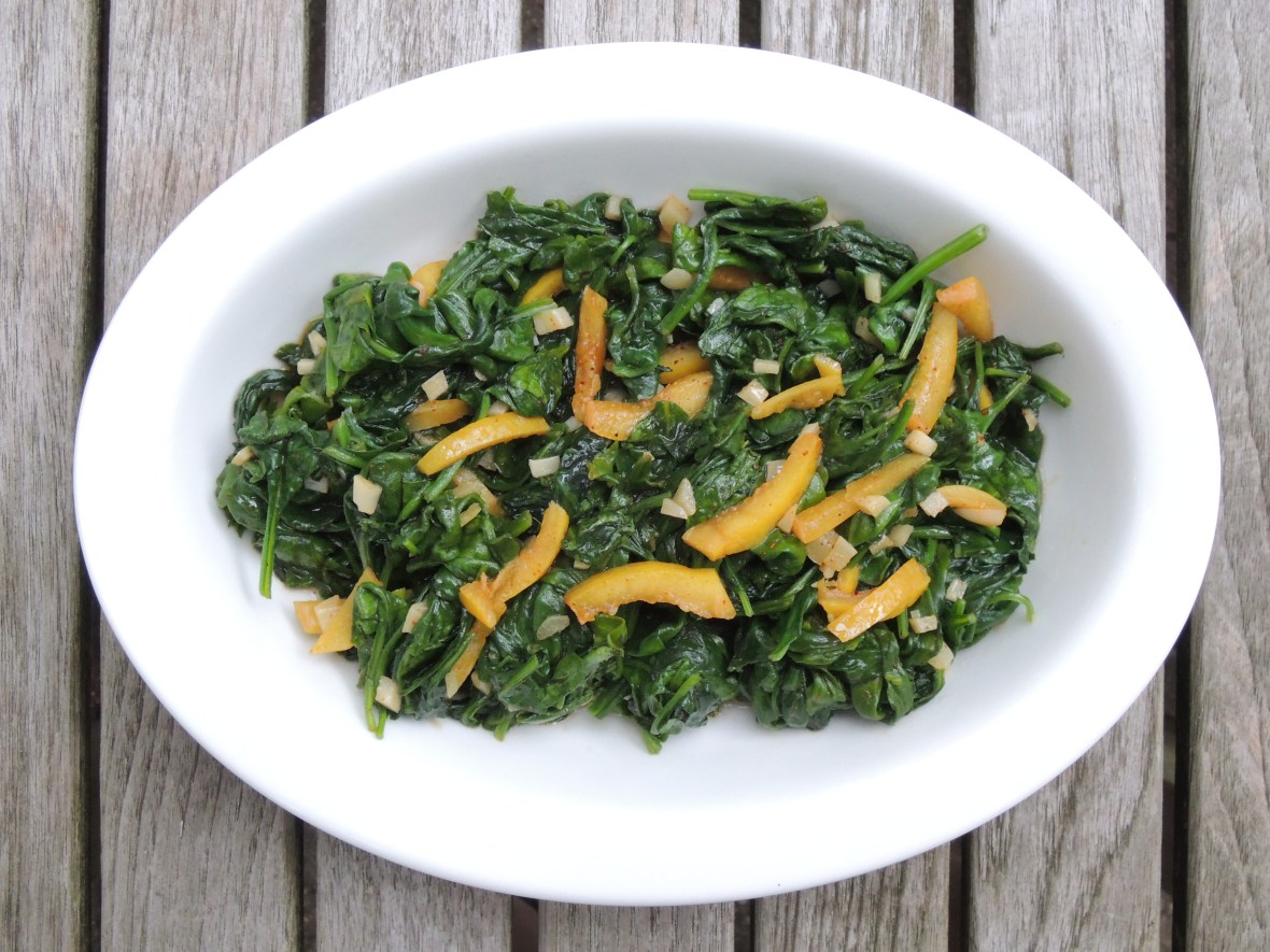 Vegetables, spinach, sauteed baby spinach with garlic and preserved lemon 1