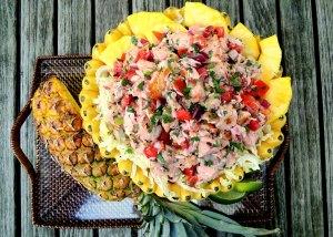 Appetizers, ceviche, lomi-lomi style salmon 1