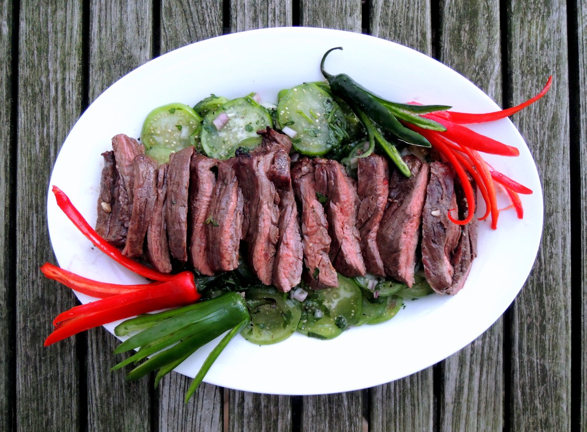 Beef, grilled steak, arrachera con ajo y limon a la parilla (Mexican grilled skirt steaks with garlic and lime) 1