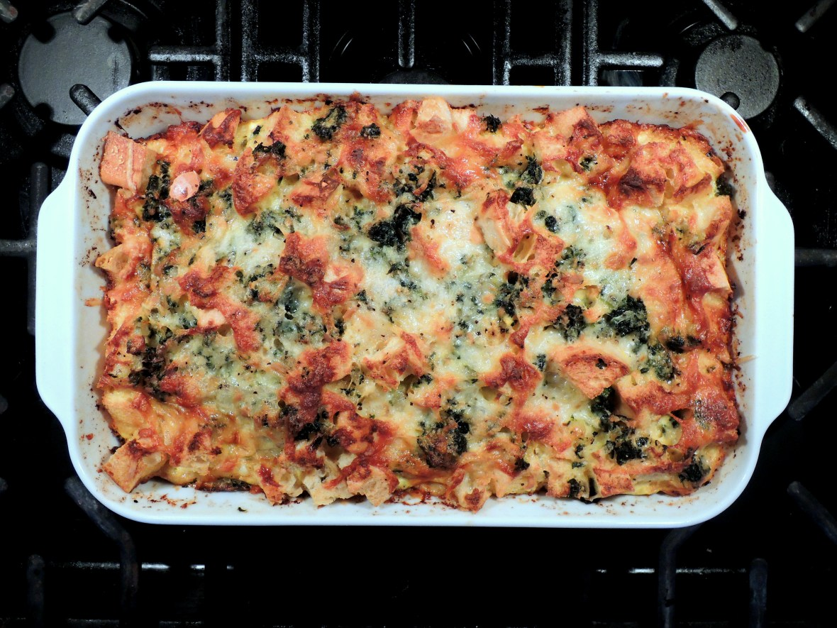 Eggs, strata with gruyere and spinach 1