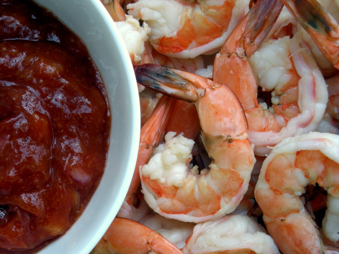 Appetizers, shrimp, boiled, prawn cocktail with Worcestershire cocktail sauce 2