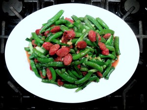 Stir-frys, Chinese sausage with sugar snap peas 1