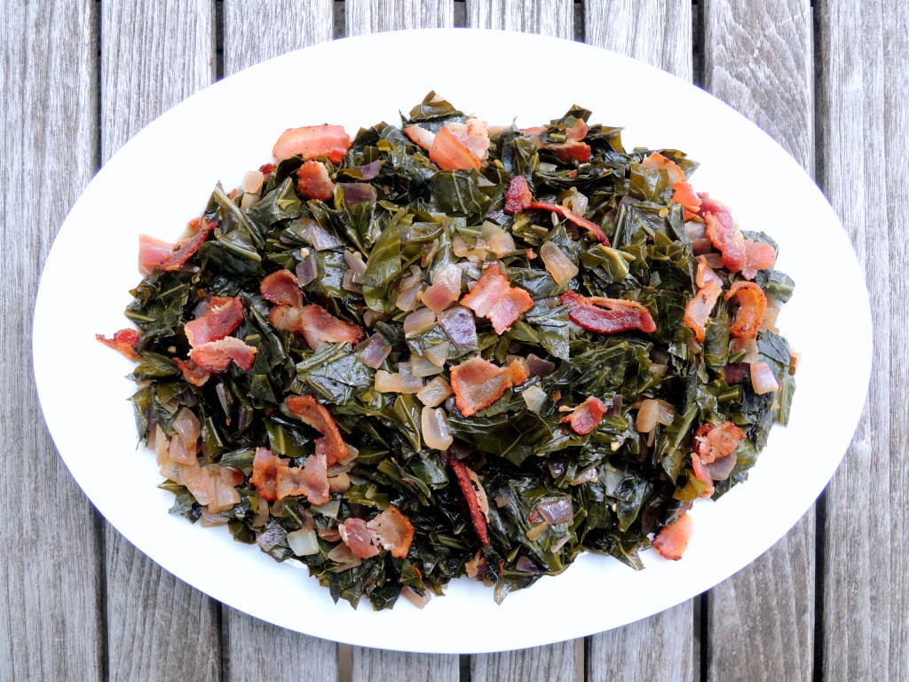 Vegetables, collard greens, braised collard greens with bacon and red onions 1