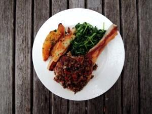veal, sauteed veal chops, chuleta de ternera hortelana 1